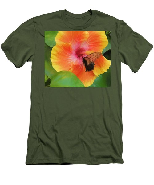 Men's T-Shirt (Slim Fit) featuring the photograph Butterfly Botanical by Kathy Bassett