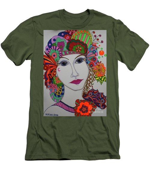 Men's T-Shirt (Slim Fit) featuring the painting Butterfly Girl by Alison Caltrider