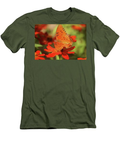 Men's T-Shirt (Slim Fit) featuring the photograph Butterfly On Flower by Donna G Smith