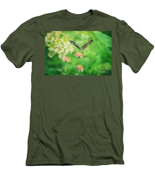 Butterfly On Lantana Montage Men's T-Shirt (Slim Fit) by Toma Caul