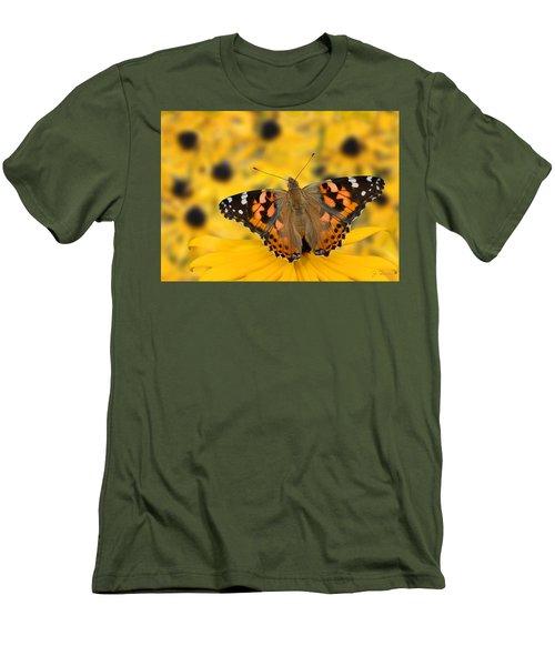 Butterfly On Rudbeckia Men's T-Shirt (Slim Fit) by Joe Bonita