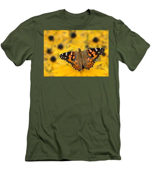 Butterfly On Rudbeckia Men's T-Shirt (Athletic Fit)