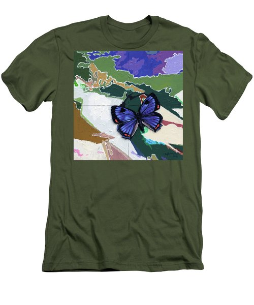 Butterfly Over Great Lakes Men's T-Shirt (Slim Fit) by John Lautermilch