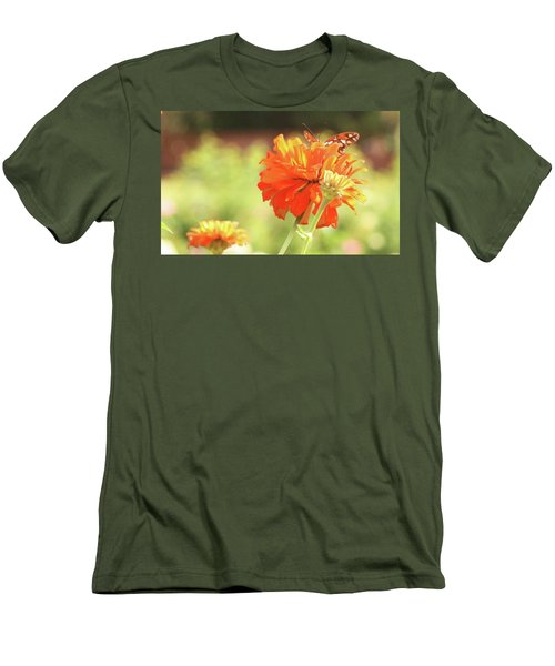 Men's T-Shirt (Slim Fit) featuring the photograph Butterfly Peek-a-boo by Donna G Smith