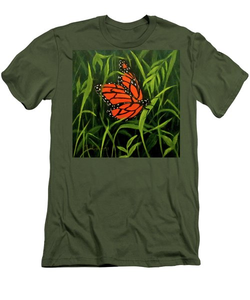 Men's T-Shirt (Slim Fit) featuring the painting Butterfly by Roseann Gilmore