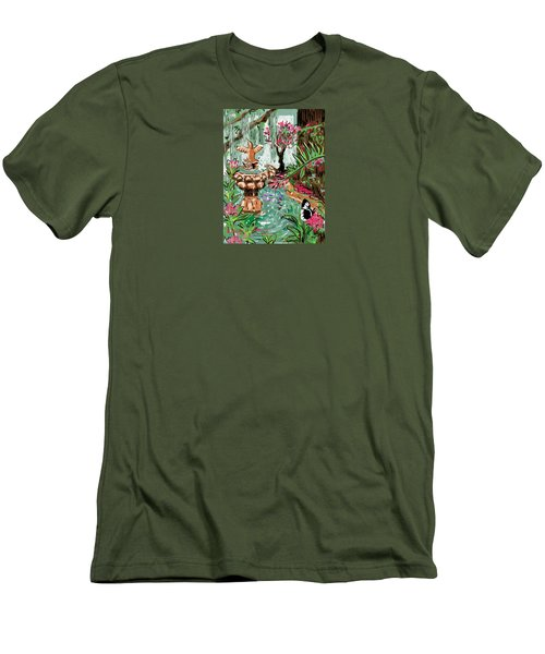 Men's T-Shirt (Slim Fit) featuring the digital art Butterfly World by Jean Pacheco Ravinski