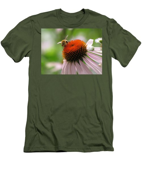 Men's T-Shirt (Slim Fit) featuring the photograph Buzzing The Coneflower by Kimberly Mackowski