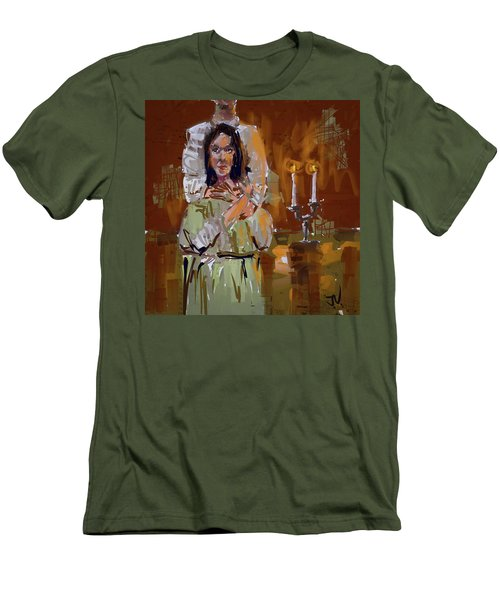 Men's T-Shirt (Athletic Fit) featuring the digital art By Candle Light by Jim Vance