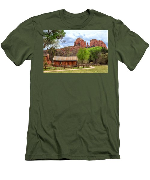 Men's T-Shirt (Athletic Fit) featuring the photograph Cabin At Cathedral Rock by James Eddy
