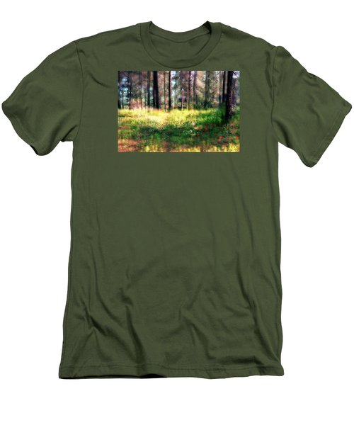 Cabin In The Woods In Menashe Forest Men's T-Shirt (Slim Fit) by Dubi Roman