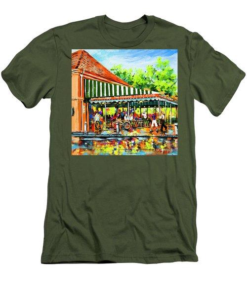 Men's T-Shirt (Slim Fit) featuring the painting Cafe Du Monde Lights by Dianne Parks