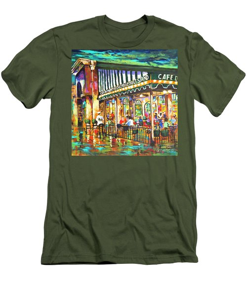 Men's T-Shirt (Slim Fit) featuring the painting Cafe Du Monde Night by Dianne Parks
