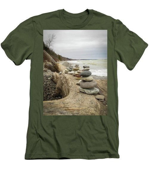 Men's T-Shirt (Slim Fit) featuring the photograph Cairn On The Beach by Kimberly Mackowski