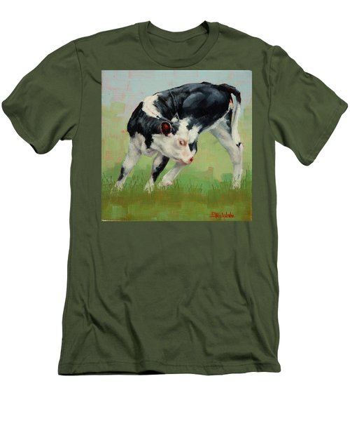 Men's T-Shirt (Slim Fit) featuring the painting Calf Contortions by Margaret Stockdale