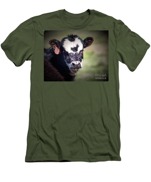 Men's T-Shirt (Slim Fit) featuring the photograph Calf Number 444 by Laurinda Bowling