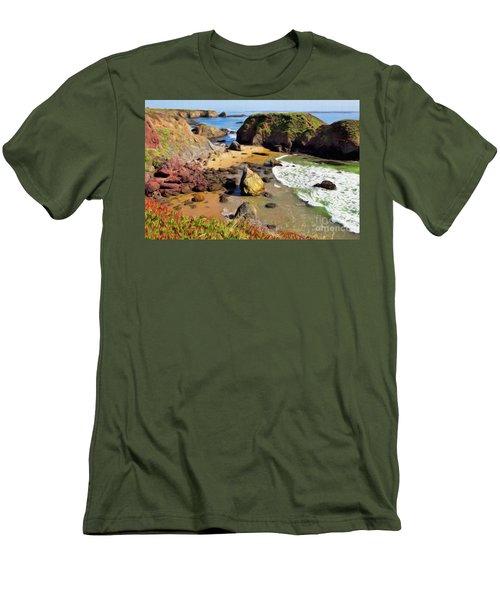 California Coast Rocks Cliffs Iceplant Ap Men's T-Shirt (Slim Fit) by Dan Carmichael