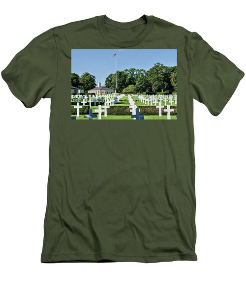 Men's T-Shirt (Slim Fit) featuring the photograph Cambridge England American Cemetery by Alan Toepfer