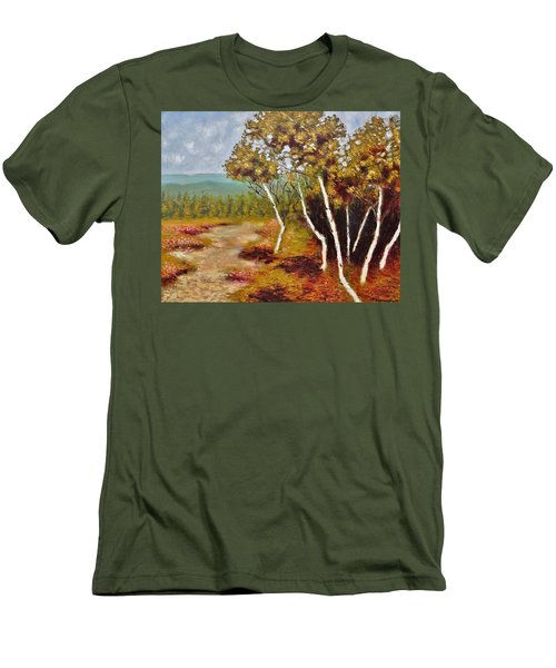 Men's T-Shirt (Slim Fit) featuring the painting Camel Top Birches by Jason Williamson