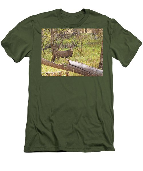 Camouflaged Buck Crystal Creek Colorado IIi Men's T-Shirt (Athletic Fit)