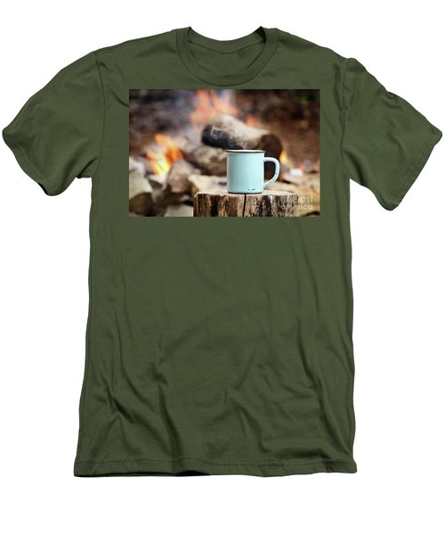 Men's T-Shirt (Slim Fit) featuring the photograph Campfire Coffee by Stephanie Frey