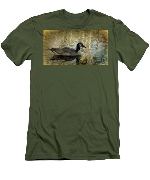 Men's T-Shirt (Slim Fit) featuring the painting Canadian Goose by Steven Richardson