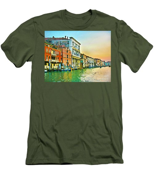 Men's T-Shirt (Slim Fit) featuring the photograph Canal Sunset - Venice by Tom Cameron