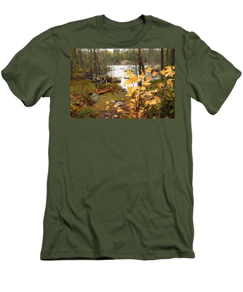 Canoe At Little Bass Lake Men's T-Shirt (Slim Fit) by Larry Ricker
