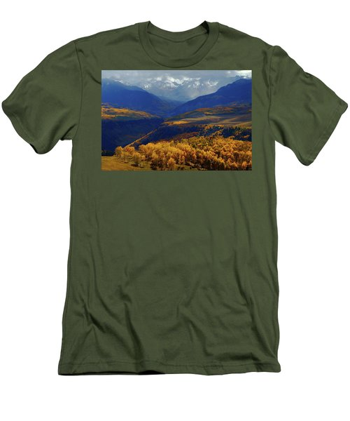 Men's T-Shirt (Slim Fit) featuring the photograph Canyon Shadows And Light From Last Dollar Road In Colorado During Autumn by Jetson Nguyen
