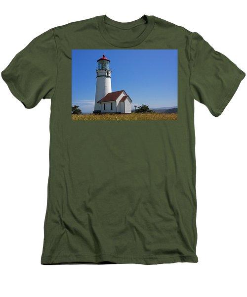 Cape Blanco Lighthouse H Men's T-Shirt (Slim Fit) by Inge Riis McDonald