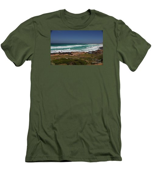 Capetown Peninsula Beach Men's T-Shirt (Slim Fit) by Bev Conover