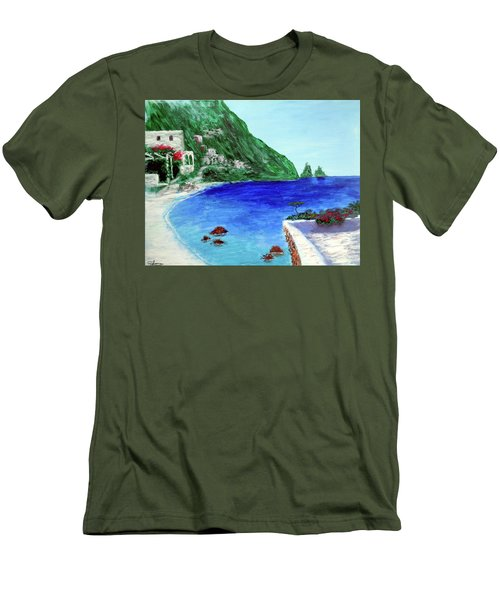 Men's T-Shirt (Slim Fit) featuring the painting  Capri by Larry Cirigliano