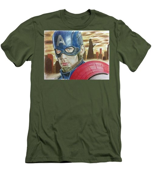 Captain America Men's T-Shirt (Slim Fit) by Michael McKenzie