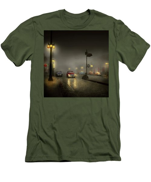 Men's T-Shirt (Slim Fit) featuring the photograph Car - Down A Lonely Road 1940 by Mike Savad