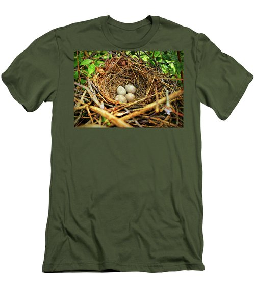 Men's T-Shirt (Athletic Fit) featuring the photograph Brown Thrasher Nest And Eggs by Bellesouth Studio