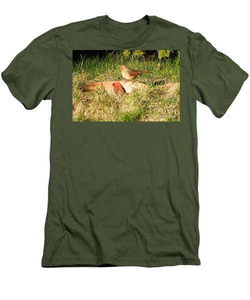 Men's T-Shirt (Slim Fit) featuring the photograph Cardinals by Vicky Tarcau