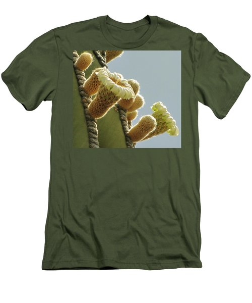 Men's T-Shirt (Slim Fit) featuring the photograph Cardon Cactus Flowers by Marilyn Smith