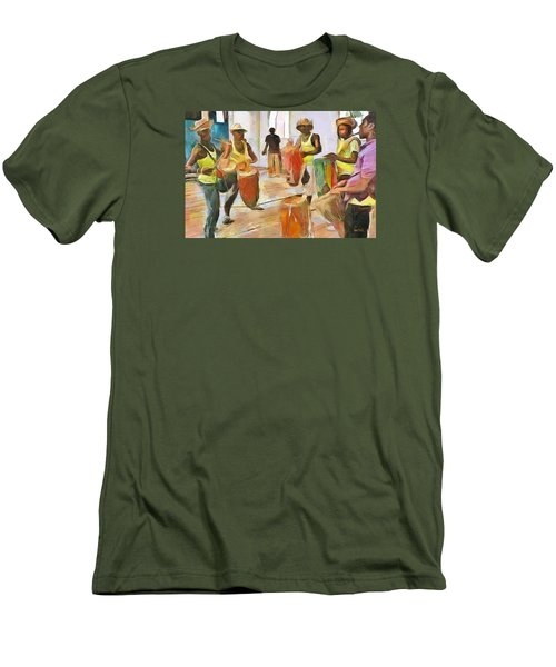 Men's T-Shirt (Slim Fit) featuring the painting Caribbean Scenes - Folk Drummers by Wayne Pascall