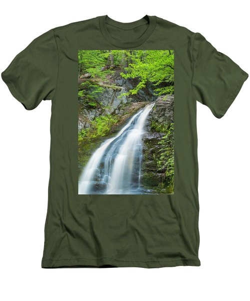 Men's T-Shirt (Slim Fit) featuring the photograph Cascade Waterfalls In South Maine by Ranjay Mitra