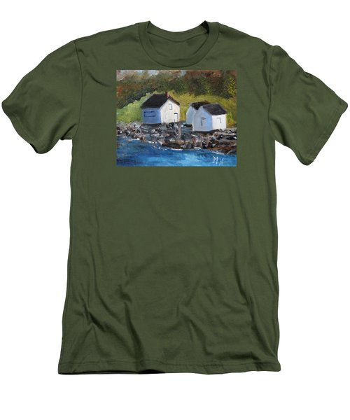 Men's T-Shirt (Slim Fit) featuring the painting Casco Bay Boat Houses by Michael Helfen