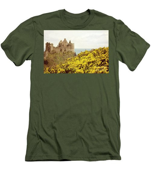 Men's T-Shirt (Slim Fit) featuring the photograph Castle Ruins And Yellow Wildflowers Along The Irish Coast by Juli Scalzi
