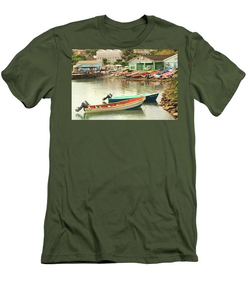 Men's T-Shirt (Slim Fit) featuring the photograph Castries Harbor Waterfront by Roupen  Baker