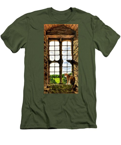 Cat In The Castle Window Men's T-Shirt (Athletic Fit)
