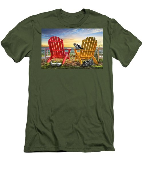 Men's T-Shirt (Slim Fit) featuring the photograph Cat Nap At The Beach by Debra and Dave Vanderlaan