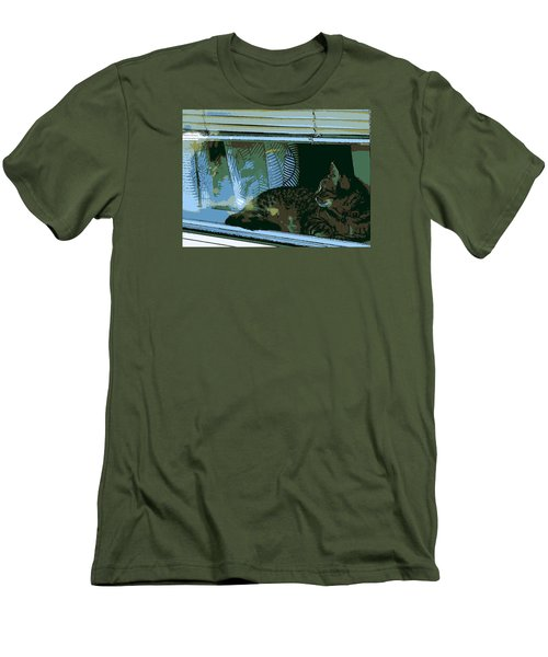 Cat Observing From Window Men's T-Shirt (Athletic Fit)