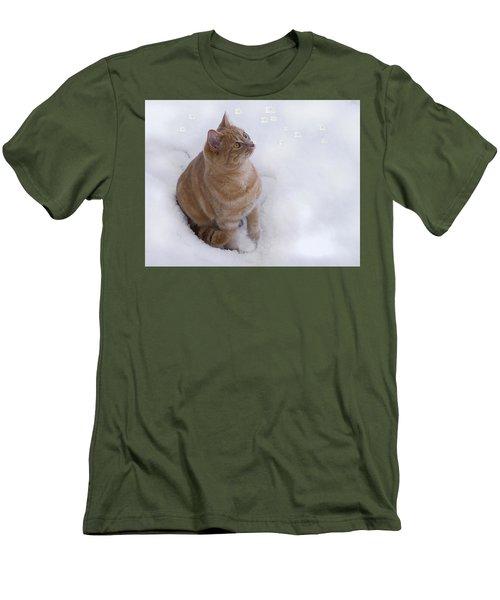 Cat With Snowflakes Men's T-Shirt (Slim Fit) by Jacqi Elmslie