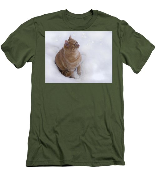 Cat With Snowflakes Men's T-Shirt (Athletic Fit)
