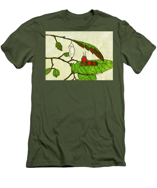 Men's T-Shirt (Slim Fit) featuring the drawing Caterpillar Whimsy by Wendy McKennon