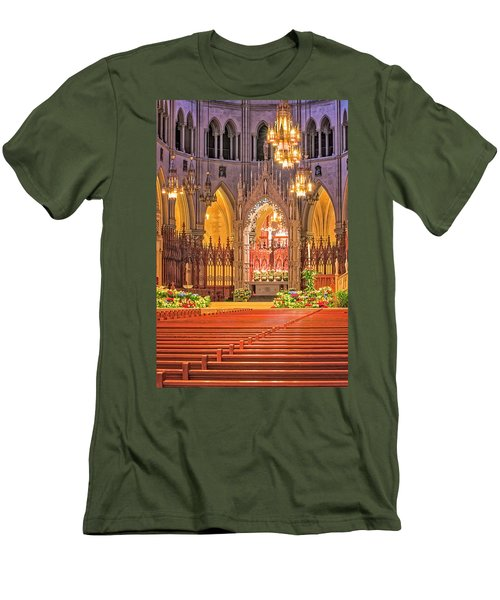Men's T-Shirt (Slim Fit) featuring the photograph Cathedral Basilica Of The Sacred Heart Newark Nj by Susan Candelario
