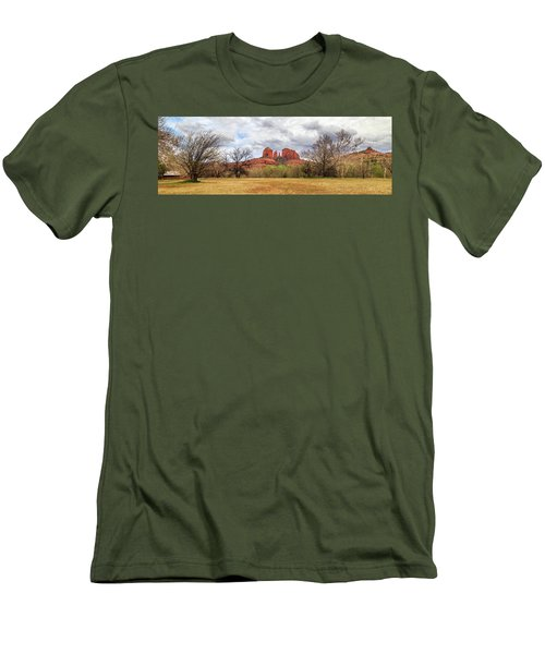 Men's T-Shirt (Athletic Fit) featuring the photograph Cathedral Rock Panorama by James Eddy