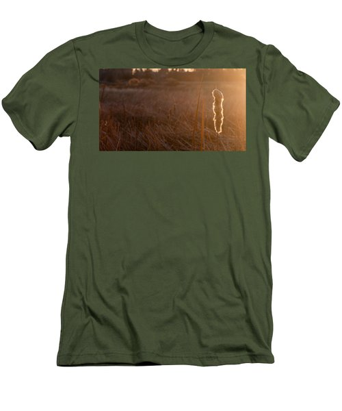 Men's T-Shirt (Slim Fit) featuring the photograph Cattail At Sunrise by Monte Stevens